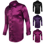 Fashion Mens Slim Fit Solid Color Long Sleeve Shirts Casual Tops Size S M L XL