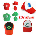 Pokemon Ash Ketchum Red Hat Cap Trainer Cosplay Fancy Dress Halloween Costumes