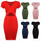 Women Cap Sleeve Front Wrap Over V Neck Cut Ladies Celeb Bodycon Midi Dress 8-14