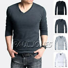 Casual Mens V Neck Long Sleeve T Shirt Plain Tee Shirts Jumper Top Size XS S M L