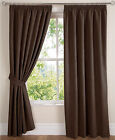 "Chocolate Brown New Faux Suede Pencil Pleat PAIR Curtains Available In 84"" Drop"