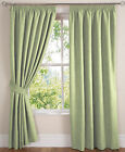 Soft Green Faux Suede Fully Lined Tape Top PAIR Curtains Available In 10 Sizes