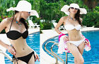 40334-White or Black Sexy Side Tie Bikini Set Swimming Costume-UK 10-12
