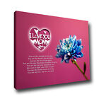 I Love You Mom Gift For Mother Poem Canvas Art Print Blue Rose Pink Wall Art