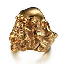Punk Jewelry Men's Biker Stainless Steel Gold Casting Skull Cool  Ring 9-12#