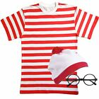 Adults Mens Ladies Red & White striped Costume Outfit Fancy Dress Book Week