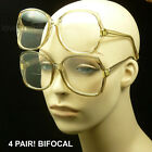 BIFOCAL READING GLASSES CLEAR LARGE LENSES LADY WOMEN MEN POWER STRENGTH LP64