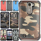 For LG K7 / Tribute 5 Rubber IMPACT TRI HYBRID Case Skin Cover +Screen Protector
