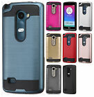 For LG Power L22C Brushed Metal HYBRID Rubber Case Phone Cover +Screen Protector