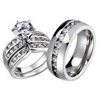 3 Pcs His Hers Titanium Sterling Silver Wedding Bridal Round CZ Ring Sets