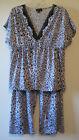 New Womens Tiger Print Capri Pajamas by Jones New York Size Small Blue Animal