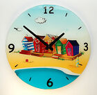 Nautical Theme Beach Huts 30 cm diameter Wall Clock TY7535)