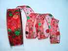 RED ORGANZA GREEN GOLD GLITTER SPOT WIRED WIRE RIBBON 38MM WIDE 2M- 5M -10M