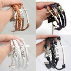 NEW DIY Fashion Jewelry Leather Cute Infinity Love Charm Bracelet Silver Gift