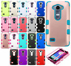 For LG Destiny L21G Rubber IMPACT TUFF HYBRID Case Skin Cover +Screen Protector
