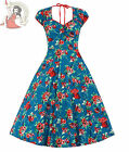 LINDY BOP 50's BELLA FLORAL DRESS BLUE