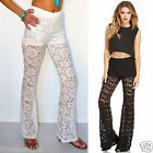 Boho BEACH GYPSY Crochet Lace Flare Leg Pants Beach Cover Up 6 Colors S - 3X!