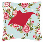 Manta Ray Shabby Elegance Blue Roses Indoor/Outdoor Throw Pillow