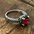 Sterling Silver Celtic Synthetic Ruby Ring (Size 4-11)