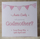 Handmade Personalised Will You Be My Godmother Godfather Godparents Pink or Blue