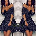 Womens Short Sleeve Ruffled Skirt Tunic Dress Dark Blue White Dot Off Shoulder