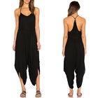 May&Maya Women's Self Tie Belt V Neck  All In One Harem Jumpsuit Romper Pants