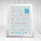 House Rules Sign Plaque Chic Shabby Heart Home Friendship Gift