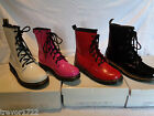 ELLA DESIGNER PATENT COMFORTABLE BOOTS DM WHITE PINK BLACK RED BNIB NEW NEON