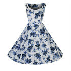 H & R London White Blue Roses Dress Swing Retro Pin Up Rockabilly Vintage Style
