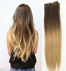"""Brown Blonde 70% Real Straight Clip in Human Hair Extensions, DIP DYED OMBRE 19"""""""