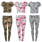 Womens Camouflage Army Cap Sleeve Crop Top Ladies Leggings Loungewear Tracksuit
