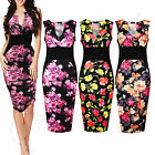 Womens V Neck Plunge Ladies Celebs Paneled Bodycon Midi Summer Party Dress 8-14