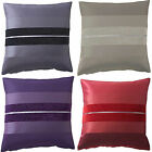 "Queen Alessia Chenille Striped Pair Of 18"" Cushion Covers Grey Natural Plum Red"