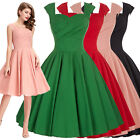 Retro Women's Cap Sleeve Vintage Style 1950s Bridesmaid Party Swing DANCE Dress