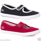 Lacoste Kid's Girls Borel Low Top Casual Canvas Shoes Button Red & Black
