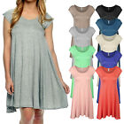 *CLEARANCE* Women's Cap Sleeve Solid Basic Loose Fit Tunic Top Dress USA