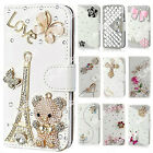 Luxury Flip Bling Rhinestone PU Leather Card Wallet Case Stand Cover For LG