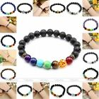 8mm Rock Lava Agate Buddha Black Gemstone Beads Bracelets Cuff Bangle Jewelry