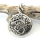 Sterling Silver Handcrafted Round Open Locket Pendant and Necklace - Gift Boxed