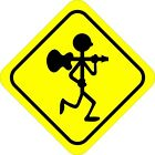 Guitar Player Walking Player Decals Bumper Stickers
