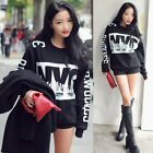 Women Letter Print Black Sweatshirt Long Sleeve Thicken Pullover Blouse Top LJ