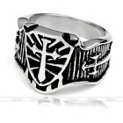 316L Stainless Steel Men's Ring Finger Fashion Carved Cross Knights US9-US13 New