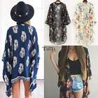 Retro Women Floral Long Cardigan BOHO Coat Kimono Blouse Chiffon Tops Shawl Cape