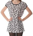 White Black Splatter And Skull Women's Clothing Puff Sleeve One Piece Dress