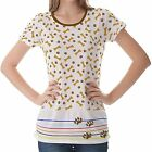 White Paw Dog Pattern Womens Ladies Short Sleeve Top Shirt Blouse