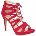 Ladies Women Cut Out Lace Up High Heel Ankle Straps Gladiator Sandals Shoes Size