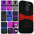 For LG K10 HYBRID Hard Gel Rubber KICKSTAND Case Phone Cover +Screen Protector