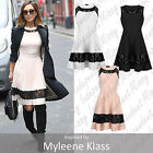 Womens Celebrity Inspired Myleene Klass Lace Insert Skater Sleeveless Dress 8-14