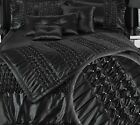 Black Quilted Bed Throw Runner Ruched Materials Pearl Embellished Satin New