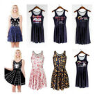 3D Graphic Printed Animate Chic Pleated Two Way Singlet Skater Dress S-XXXXL